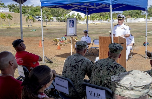 PITI, Guam (June 20, 2019) Capt. Dale Turner, commanding officer of Naval Facilities Engineering Command (NAVFAC) Marianas, speaks during the Seabee Betty Day memorial celebration. Seabee Betty died June 9, 2003 and was interred June 20, 2003. In 2004, the governor of Guam declared June 20 to be Seabee Betty Day to honor the more than 50 years of dedicated service to the Seabee community on Guam. (U.S. Navy photo by Mass Communication Specialist 2nd Class Kelsey L. Adams)