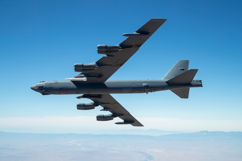 A B-52 from the 419th Flight Test Squadron out of Edwards Air Force Base, Calif., carries a prototype of the AGM-183A Air-Launched Rapid Response Weapon, or ARRW, for its first captive carry flight, June 12. (U.S. Air Force photo by Christopher Okula)