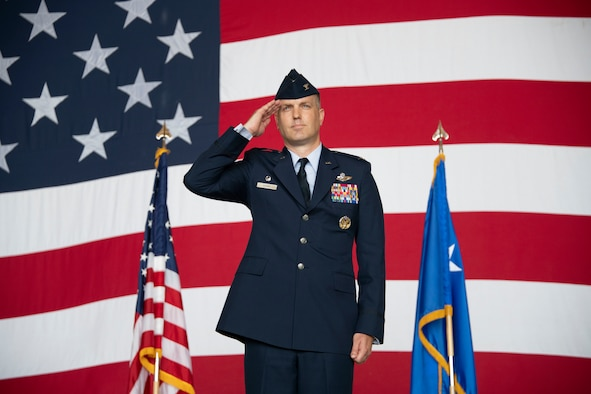 U.S. Air Force Col. Matthew Leard, 97th Air Mobility Wing commander, renders his first salute during the 97th AMW change of command, June 21, 2019, at Altus Air Force Base, Okla. Leard earned his commission through Officer Training School in 1999 and has since become a command pilot with more than 4,300 flight hours under his belt. (U.S. Air Force photo by Airman 1st Class Breanna Klemm)