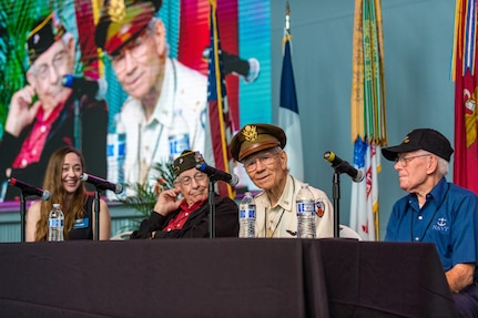 Members of the D-Day Veterans Panel reminisce on their time in service during the 75th D-Day Anniversary commemoration at the National WWII Museum in New Orleans, La on June 6, 2019.