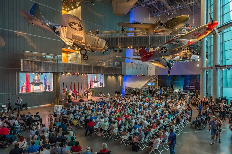 Guests assemble in the Boeing Freedom Pavilion at the National WWII Museum in New Orleans, La. for the 75th D-Day Anniversary June 6, 2019.