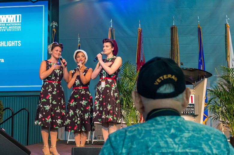 "Members of the ""Victory Belles"" singing group perform during the 75th D-Day Anniversary Ceremony at the National WWII Museum in New Orleans, La on June 6, 2019."