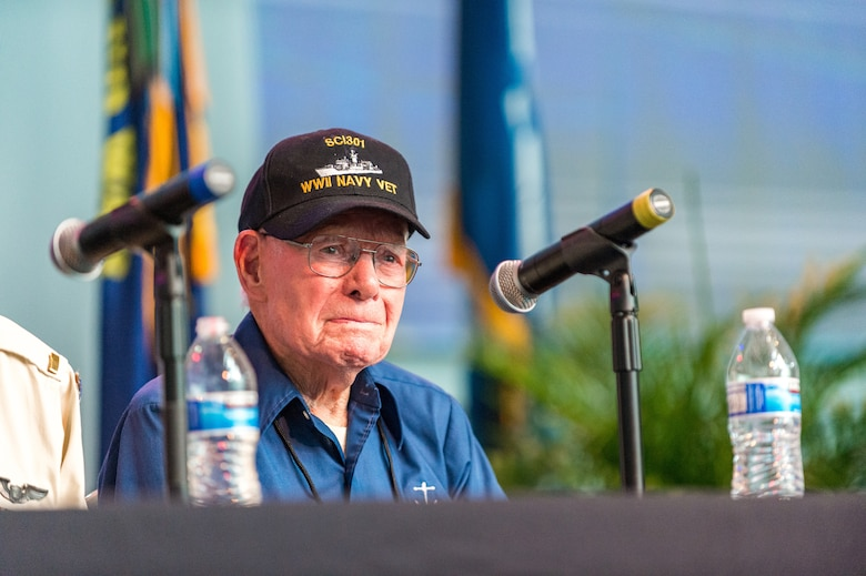 U.S. Navy Gunner's Mate Third Class Talley Fletcher becomes emotional while recalling the Normandy invasion during the D-Day Veterans Panel at the National WWII Museum in New Orleans, La. on June 6, 2019