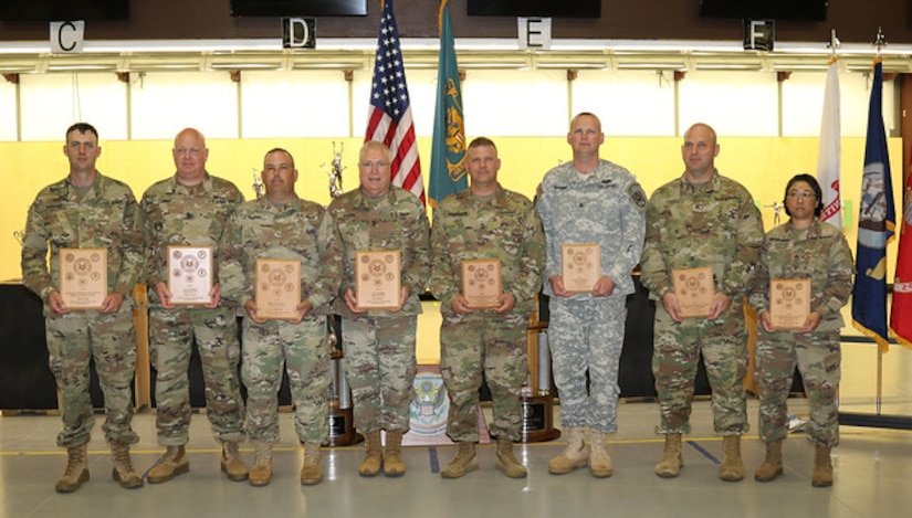 Members of the Army Reserve Marksmanship Program took first place among the reserve components and second place overall at the 2019 Interservice Pistol Championships. From left, Sgt. Nick Mower (200th MP Command, 2nd place in the .22 aggregate, 7th overall individual), Sgt. 1st Class Brenn Combs (108th Training Command), Maj. Thomas Bourne (80th TASS), Sgt. Maj. George Greene (58th Trans BN), Master Sgt. Kris Beerman (85th Training Command), Staff Sgt. John Rosene (HRC-IRR, 4th place .22 aggregate, 5th overall individual), Sgt. Chris Liming (85th Training Command), and Staff Sgt. Sandra Uptagrafft (108th Training Command).