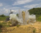 An improvised demolition charge is detonated by Sailors assigned to U.S. Navy Explosive Ordnance Disposal Mobile Unit (EODMU) 5 and the Royal Thai Navy Diver and Explosive Ordnance Disposal Center during a controlled, live-fire demolition knowledge exchange as part of Cooperation Afloat Readiness and Training (CARAT) Thailand 2019.(U.S. Navy photo by Mass Communication Specialist 2nd Class Kelsey L. Adams)