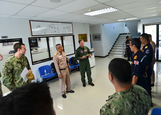 U.S. Navy Rear Adm. Joey Tynch, commander, Task Force 73, speaks to U.S. and Royal Thai Navy (RTN) Sailors at the RTN Submarine Command Team Trainer during Cooperation Afloat Readiness and Training (CARAT) Thailand 2019. (U.S. Navy photo by Mass Communication Specialist 1st Class Greg Johnson)