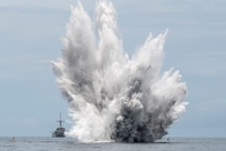 The Avenger-class mine countermeasures ship USS Pioneer (MCM 9) observes a controlled mine detonation while conducting a joint mine countermeasures exercise with the Royal Thai Navy during Cooperation Afloat Readiness and Training (CARAT) Thailand 2019.(U.S. Navy photo by Mass Communications Specialist 2nd Class Corbin Shea)