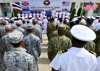 U.S. and Royal Thai Navy Sailors stand in formation together during the opening ceremony of Cooperation Afloat Readiness and Training (CARAT) Thailand 2019. (U.S. Navy photo by Mass Communication Specialist 1st Class Greg Johnson)