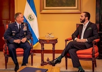Air Force Chief of Staff Gen. David L. Goldfein meets with El Salvador's newly elected President Nayib Bukele. The meeting came as part of Goldfein's participation during a three-day conference in San Salvador, El Salvador that brought together air chiefs from 21 countries in the Western Hemisphere to discuss a range of regional issues and to strengthen partnerships.