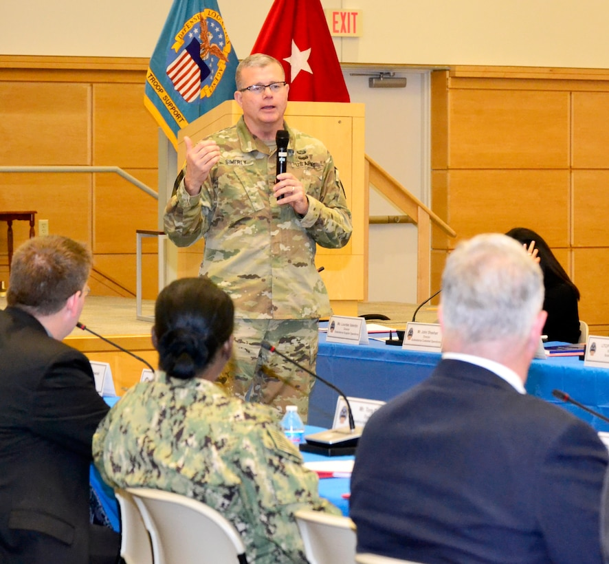 Army Brig. Gen. Mark Simerly, DLA Troop Support commander, talks during the Campaign of Learning program event at DLA Troop Support June 17, 2019 in Philadelphia.