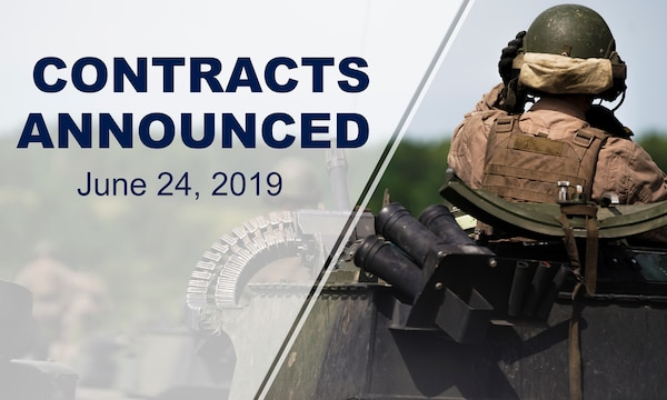 "Service member sits on military vehicle, with back towards camera. Text says: ""Contracts announced. June 24, 2019"""