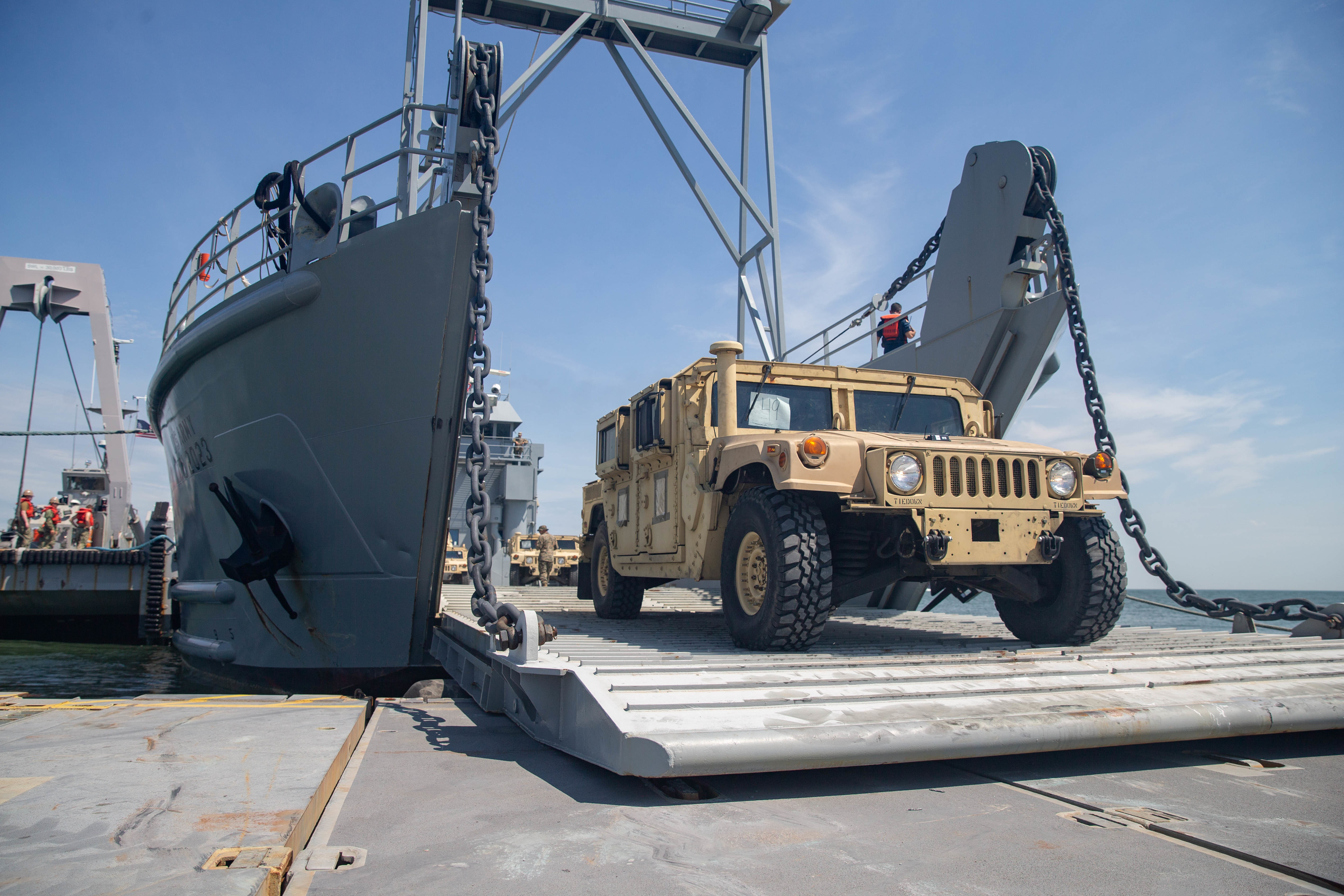 Marines with 2nd Transportation Support Vehicles off Load