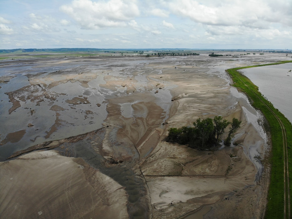 This image from June 22, 2019 shows progress of the water drainage after Levee L575a was closed on June 20.