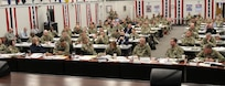 Lt. Gen. Jeffrey S. Buchanan, U.S. Army North commanding general, hosts personnel from federal, state, U.S. Territories and military agencies at the 2019 ARNORTH Hurricane Rehearsal of Concept Drill at Joint Base San Antonio-Fort Sam Houston June 12. The ROC Drill helped synchronize active duty military support efforts with federal, state, territorial and local partners to ensure seamless support in a hurricane response event.