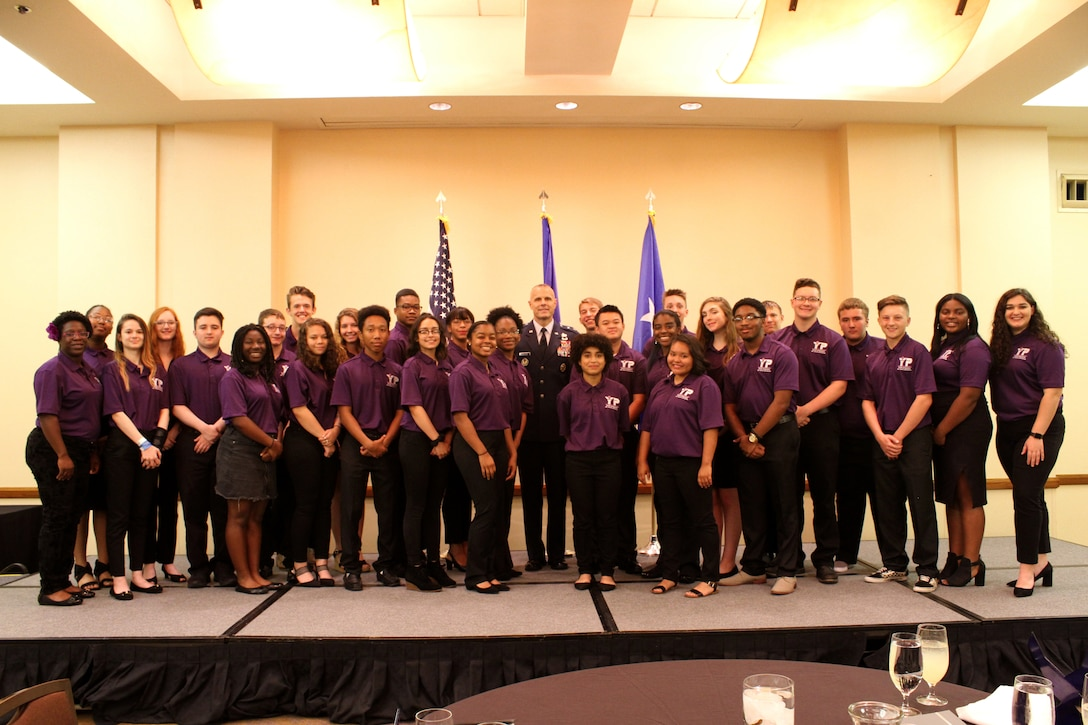 At center, Maj. Gen. Brad Spacy, Air Force Installation and Mission Support Center commander, poses for a photo with installation and, in some cases, state military youth of the year winners during an awards ceremony at the conclusion of the 2019 Military Youth of the Year Summit in San Antonio, June 17-21. (U.S. Air Force photo by Debbie Aragon)