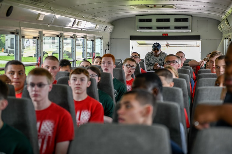 Air Force Junior Reserve Officer Training Corps cadets await instruction from 910th Airlift Wing Junior ROTC staff upon arrival at the installation on June 12, 2019.