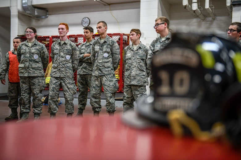 While attending the 910th Airlift Wing's 2019 Junior Reserve Officer Training Corps leadership camp, cadets visit the fire station at Youngstown Air Reserve Station to learn about firefighting capabilities and the importance of fire safety on June 14, 2019.