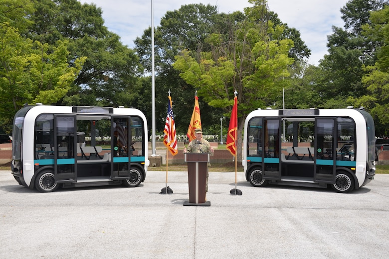 Maj. Gen. Anthony Funkhouser, U.S. Army Corps of Engineers (USACE) deputy commanding general for military and international operations,  gives the keynote address regarding USACE Engineer Research and Development Center's (ERDC) innovative research in autonomous vehicle technology June 19, 2019, at the launch event for a fleet of autonomous shuttles called Olli on Joint Base Meyers-Henderson Hall (JBM-HH). Olli will provide service on JBM-HH for 90 days as part of a pilot project in autonomous vehicle technology for which ERDC is the research lead.