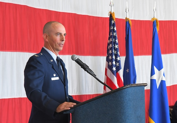 Col. Steven G. Behmer spoke to the Airmen of the 388th Fighter Wing after taking command of the Air Force's only operational F-35A Lightning II unit. (U.S. Air Force photo by Todd Cromar)