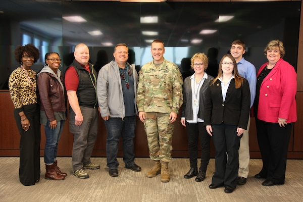 ERDC Commander Col. Ivan P. Beckman, center, welcomes the six selectees for the 2019 six-month session of ERDC University in March in Vicksburg, Miss. Participating in March kickoff activities were, from left to right, ERDC-U Program Manager Cynthia Brown; Civil Engineer Dominique Williams, New Orleans District; Biologist Damian Walter, Walla Walla District; Biologist Chris Solek, Los Angeles District; Project Coordinator Rebekah Lujan, Fort Worth District; Executive Assistant Kathleen Payne, Little Rock District; Civil Engineer Brian Lucarelli, Pittsburg District; and ORTT Technology, Knowledge and Outreach Division Chief Tisa Webb. Corps' division and district selectees partner with ERDC subject matter experts to apply and implement technical solutions.