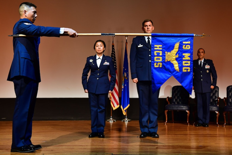 A new guidon is unveiled during a ceremony