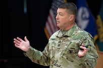 U.S. Army Capt. Geoffrey Cummings, Company Leader Development Course, explains leadership concepts to students at Fort McCoy, Wisconsin, June 20, 2019. CLDC teaches officers and noncommissioned officers leadership fundamentals and gives them tools to maximize training and effectiveness.
