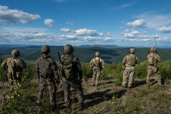 U.S. Air Force and South Korea Air Force Joint Terminal Attack Controllers conduct close air support training mission during Red Flag-Alaska 19-2 at Eielson Air Force Base, Alaska, June 12, 2019. This U.S. Pacific Air Forces large force exercise enables U.S. and international forces to strengthen partnerships and improve interoperability by sharing tactics, techniques and procedures for multi-domain operations. (U.S. Air Force photo by Senior Airman Kristen Heller)