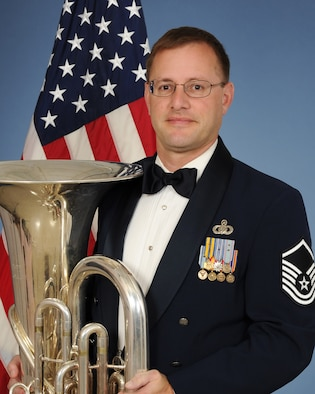 Official photo of MSgt John Rider, Tubisist with The United States Air Force Band of the West, Joint Base San Antonio, Texas