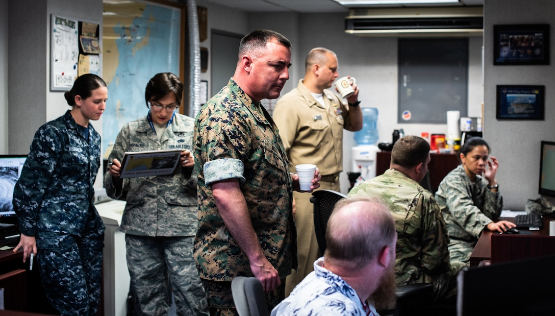 The U.S. Joint Weather Okinawa team monitors tropical cyclone conditions of readiness.