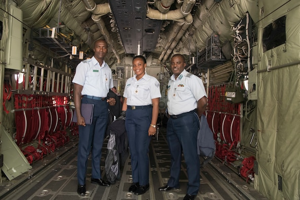 Ghana air force delegates pose for a photo inside a C-130J Super Hercules during the African-European Partnership Flight on Ramstein Air Base, Germany, June 17 - 21, 2019. This multilateral military-to-military security cooperation event is intended to strengthen U.S. strategic partnerships with key countries in Europe and Africa. (U.S. Air Force photo by Senior Airman Kristof J. Rixmann)