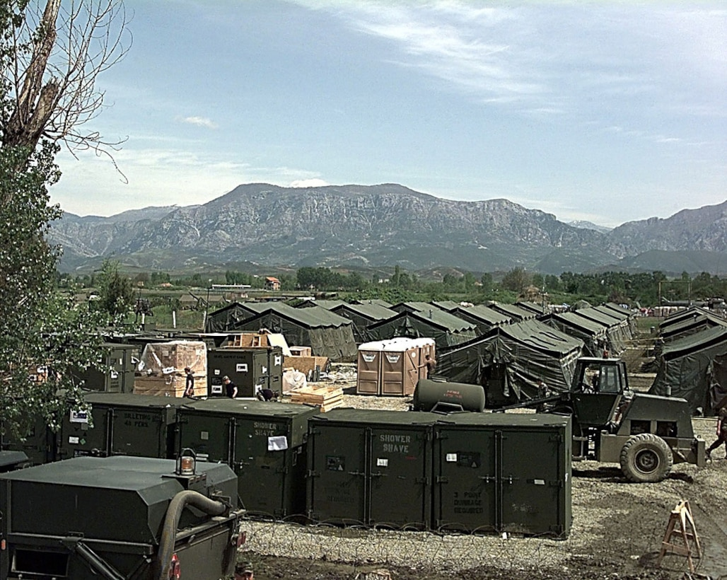 A U.S. encampment is set up at Tirana, Albania in support of Operation Shining Hope, April 15, 1999. U.S. Air Force personnel, including 25 medical personnel, deployed to support the humanitarian operation. (U.S. Air Force photo Staff Sgt. Efrain Gonzalez)