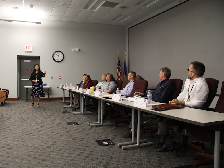 Left to right, Dr. Simone Koram, Air Force Research Laboratory's Enterprise Learning Officer, talks with AFRL's Supervisory Acculturation Program graduates Robert Neuroth, Lolita Mitchell, Craig Erford, Stacie Smithturner, Andrew Hamilton, Dr. John Cetnar and Ryan Sites. (Contributed photo)