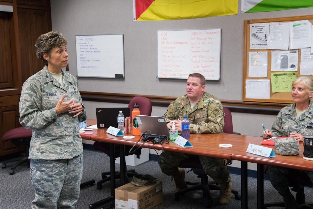 Retired Col. Gina Humble, an Air Force Junior ROTC instructor at Baltimore Polytech Institute, teaches a class, June 20, during the Air Force Junior ROTC Instructor Certification Course held at the Air Force Senior NCO Academy at Maxwell-Gunter Air Force Base, Alabama, June 12-21, 2019. Humble was named the 2019 Air Force Junior ROTC Instructor of the Year, Senior Aerospace Science Instructor category. (U.S. Air Force photo by William Birchfield)
