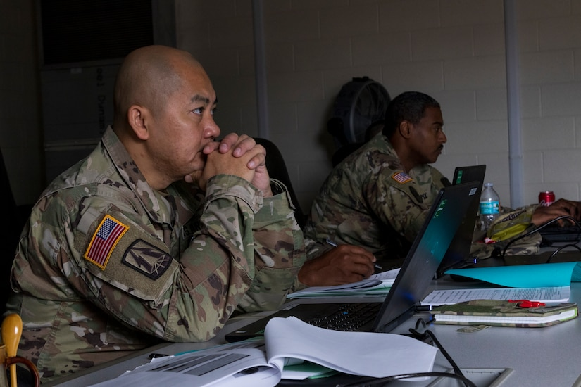 U.S. Army Reserve Soldiers with the 335th Signal Command (Theater) watch a video during a Casualty Notification and Assistance Course at the headquarters in East Point, Georgia, June 11, 2019.