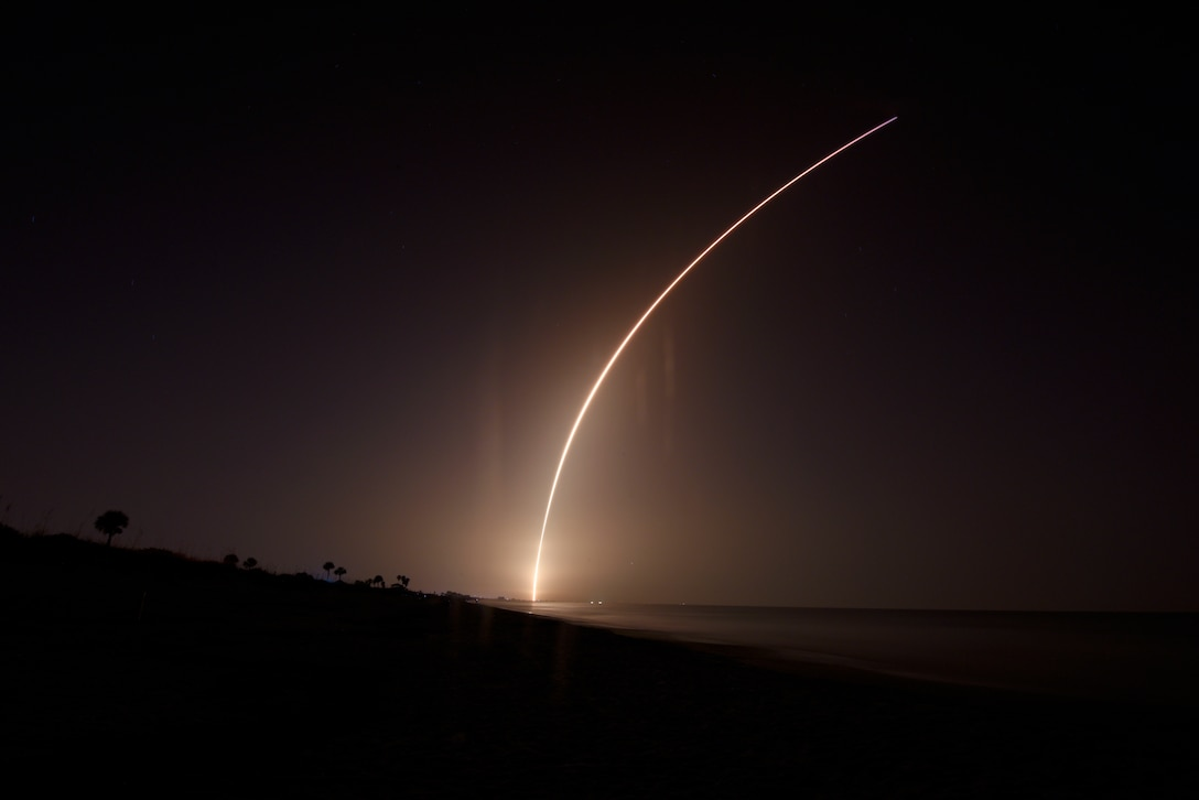 SpaceX's Falcon Heavy STP-2 launched June 25, 2019, at Cape Canaveral Air Force Station, Fla. The STP-2 was the first Falcon Heavy launch with an official Department of Defense mission and payload; the payload included satellites from the National Aeronautics and Space Administration (NASA), several universities and even the cremated remains of more than 150 humans, such as Apollo 11 astronaut Bill Pogue. (U.S. Air Force photo by Airman 1st Class Zoe Thacker)