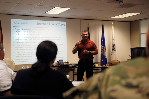 Lt. Col. Raymond Bradshaw, Air Force Reserve Command A4RF Branch Chief, engages members of a process improvement event, Westover Air Reserve Base, June 13, 2019.