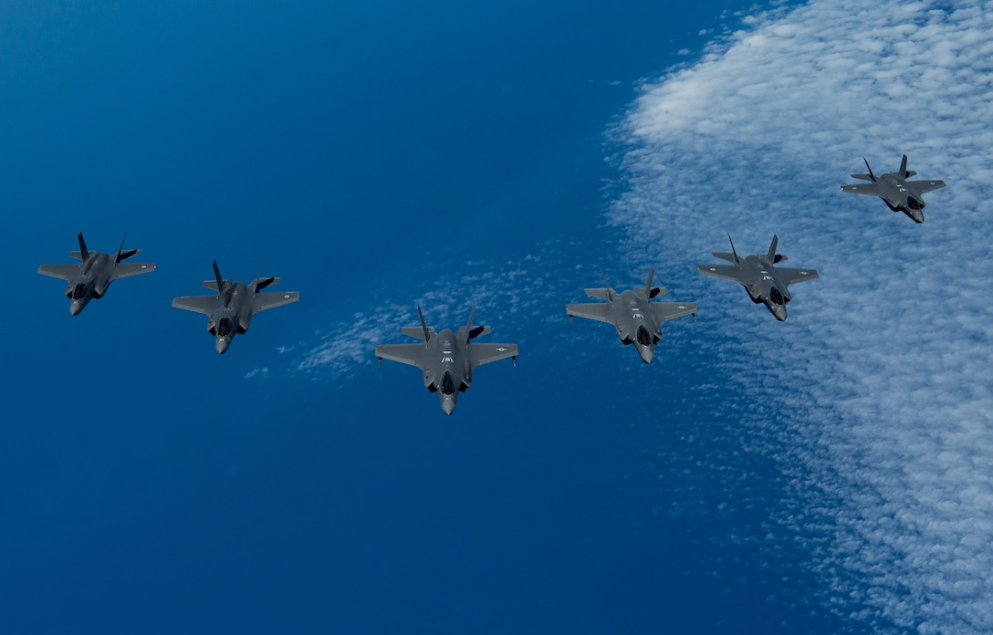 A photo of F-35's from the US, Israel and UK.