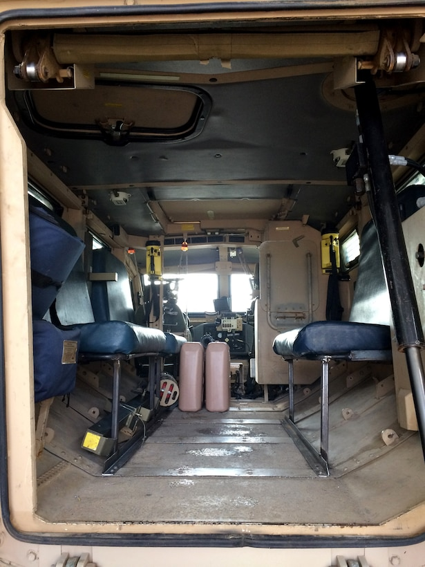 Interior modifications like bench seats make the MRAP easier for deputies to use in the vehicle's new role.