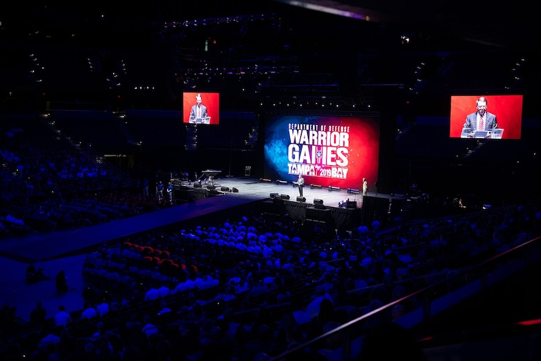 Mr. David L. Norquist, performing the duties of the U.S. deputy secretary of Defense, speaks during the 2019 Department of Defense Warrior Games Opening Ceremony in Tampa Bay, Fla., June 22, 2019. Approximately 300 wounded, ill and injured service members and veterans will participate in 13 athletic competitions over 10 days as U.S. Special Operations Command hosts the 2019 DoD Warrior Games. (DoD photo by U.S. Army Sgt. James K. McCann)