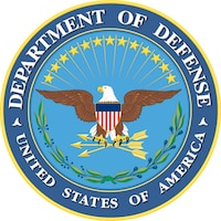 "A circular seal with the words ""Department of Defense — United States Government"" around the perimeter. On the inside, an eagle has a red, white and blue shield across its chest.  It is perched on three arrows. Above are thirteen stars in a semicircle, and below are green leaves."