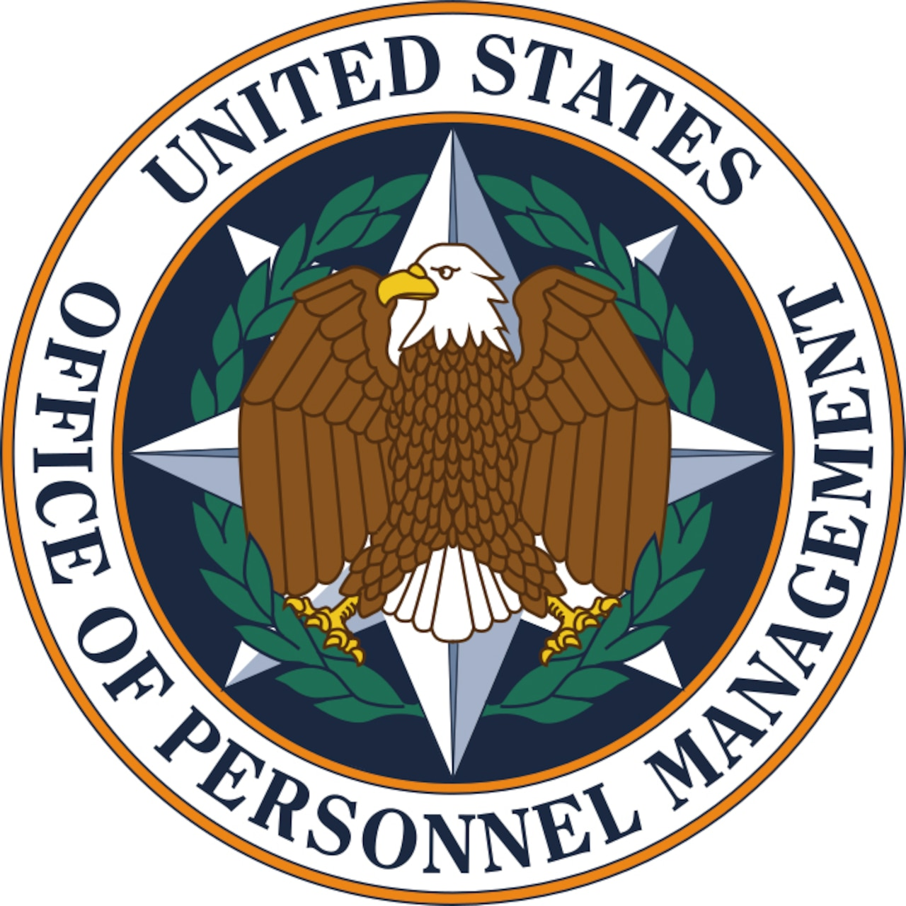 "The Office of Personnel Management seal is a circle, with the words ""United States — Office of Personnel Management"" around the perimeter. On the inside, an eagle is in front of an eight-point star that is surrounded by leaves."