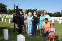 Retired Sgt. Maj. of the Army Leon Van Autreve's widow, Rita Van Autreve (center) and family at the June 21  ceremony honoring Van Autreve at the Fort Sam Houston National Cemetery.