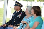 (From left) Command Sgt. Maj.Napoleon Noguerapayan with retired Sgt. Maj. of the Army Leon Van Autreve's widow, Rita Van Autreve and his daughter, Robin Anthony, at the June 21  ceremony honoring Van Autreve at the Fort Sam Houston National Cemetery.