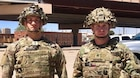 1st Lt. Samuel Mueller (left) and Staff Sgt. Michael Mathews (right), both assigned to 3rd Squadron, 89th Cavalry Regiment, 3rd Brigade Combat Team, 10th Mountain Division, pose for a photo in El Paso, Texas, June 21, 2019. Both soldiers rescued a migrant woman and her child who fell into a canal in El Paso, Texas on June 20, 2019