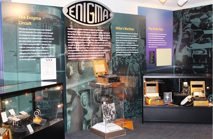 Photo of the Enigma exhibit at the National Cryptologic Museum in Fort Meade, MD