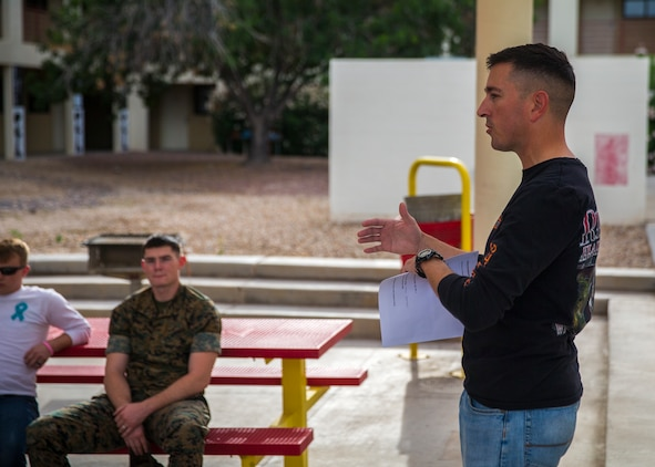 U.S. Marines with Marine Corps Air Station (MCAS) Yuma's Headquarters and Headquarters Squadron receive their monthly motorcycle safety brief at MCAS Yuma, Ariz., June 13, 2019. The Marine Corps is striving to improve the motorcycle mishap rate by ensuring all Marines have the appropriate motorcycle training.(U.S. Marine Corps photo by Lance Cpl John Hall)