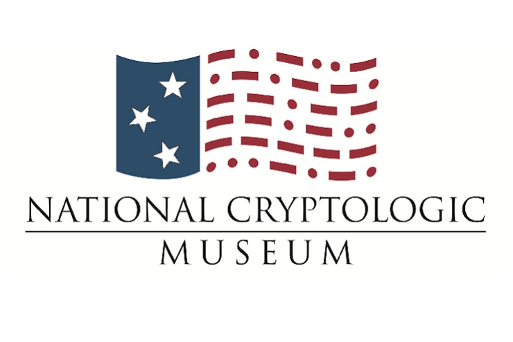 National Cryptologic Museum logo featuring a an abstract representation of the U.S. flag with 3 stars in the blue region and Morse Code in lieu of solid red stripes