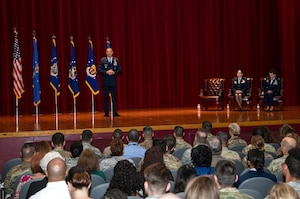Maj. Gen. Brad Spacy, commander of the Air Force Installation and Mission Support Center, talks to those gathered for a special unit redesignation ceremony June 25, 2019, on Joint Base San Antonio-Lackland, Texas. During the ceremony, AFIMSC formerly redesignated the Air Force Installation Contracting Agency as the Air Force Installation Contracting Center, and the Air Force Services Activity as the Air Force Services Center. The redesignation of the two primary subordinate units brings them in line with Air Force naming conventions. (U.S. Air Force photo by Johnny Saldivar)
