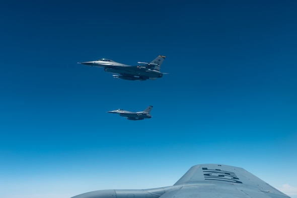 Two F-16 Fighting Falcons from the 8th Fighter Wing, Kunsan Air Base, Republic of Korea, fly during a training exercise June 18, 2019. The 8th FW provides worldwide deployable forces with a sustained forward presence focused on maintaining a free-and-open Indo-Pacific. (U.S. Air Force photo by Airman 1st Class Matthew Seefeldt)