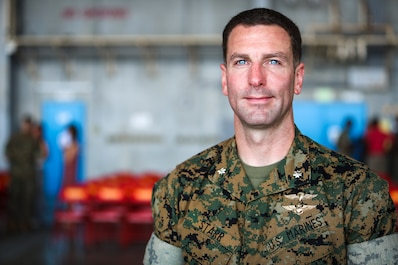 U.S. Marine Corps Lt. Col. Eric Starr, commanding officer of Headquarters and Headquarters Squadron (H&HS), poses for a photo June 21, 2019 at Marine Corps Air Station Futenma, Okinawa, Japan.  Starr participated in a change of command ceremony to assume responsibilities as the oncoming Commanding Officer of H&HS. (U.S. Marine Corps photo by Lance Cpl. Savannah Mesimer)